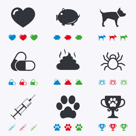 feces: Veterinary, pets icons. Dog paw, syringe and winner cup signs. Pills, heart and feces symbols. Flat black, red, blue and green icons.