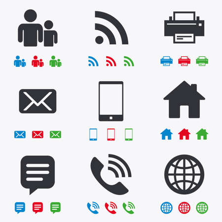 Contact, mail icons. Communication signs. E-mail, chat message and phone call symbols. Flat black, red, blue and green icons. Illustration