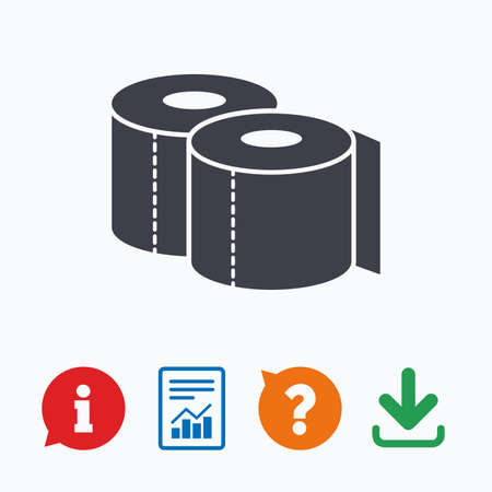 toilet roll: Toilet papers sign icon. WC roll symbol. Information think bubble, question mark, download and report.