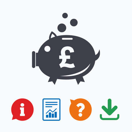 pound symbol: Piggy bank sign icon. Moneybox pound symbol. Information think bubble, question mark, download and report. Illustration