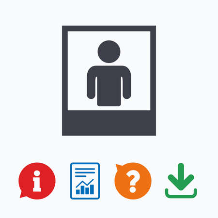 photo icon: Photo frame template with human selfie sign icon. User portrait photography symbol. Information think bubble, question mark, download and report.