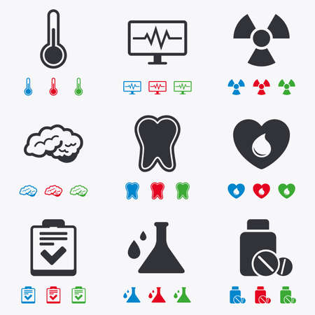 neurology: Medicine, medical health and diagnosis icons. Blood donate, thermometer and pills signs. Tooth, neurology symbols. Flat black, red, blue and green icons. Illustration
