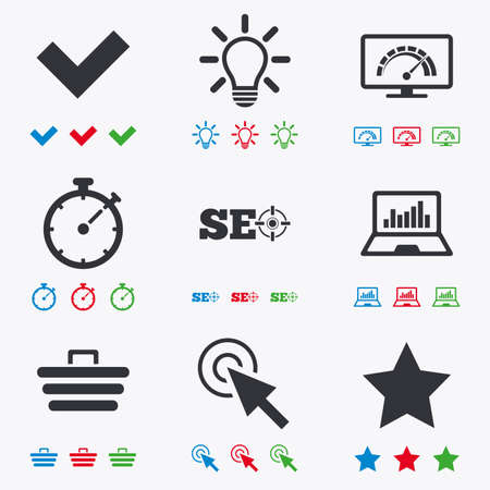bandwidth: Internet, seo icons. Bandwidth speed, online shopping and tick signs. Favorite star, notebook chart symbols. Flat black, red, blue and green icons.