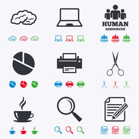 magnifying glass icon: Office, documents and business icons. Human resources, notebook and printer signs. Scissors, magnifier and coffee symbols. Flat black, red, blue and green icons.