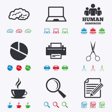 Office, documentos e iconos del asunto. Los recursos humanos, portátil y la impresora signos. Tijeras, lupa y café símbolos. iconos negros, rojos, azules y verdes planas.
