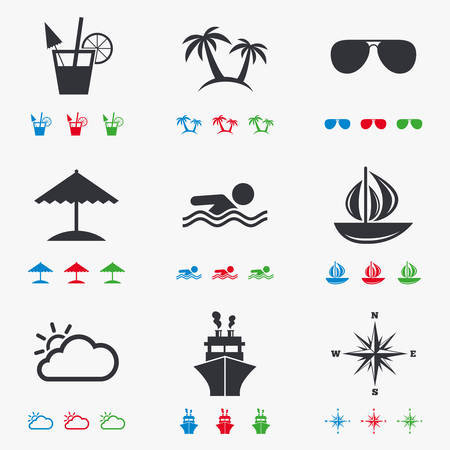 rose tree: Cruise trip, ship and yacht icons. Travel, cocktails and palm trees signs. Sunglasses, windrose and swimming symbols. Flat black, red, blue and green icons. Illustration
