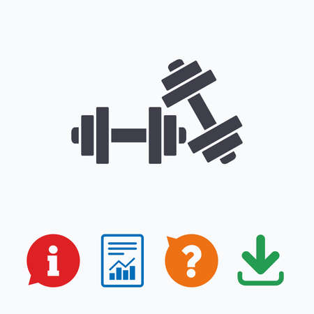 information equipment: Dumbbells sign icon. Fitness sport symbol. Gym workout equipment. Information think bubble, question mark, download and report.