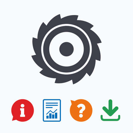 saw blade: Saw circular wheel sign icon. Cutting blade symbol. Information think bubble, question mark, download and report.