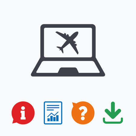 plane ticket: Online check-in sign. Airplane symbol. Travel Flight tickets label. Information think bubble, question mark, download and report.