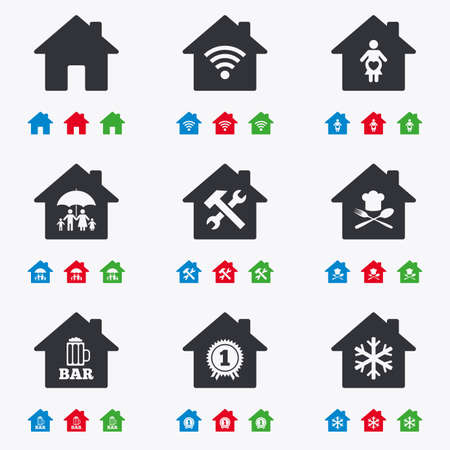 air hammer: Real estate icons. Home insurance, maternity hospital and wifi internet signs. Restaurant, service and air conditioning symbols. Flat black, red, blue and green icons. Illustration