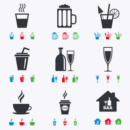 coke: Cocktail, beer icons. Coffee and tea drinks. Soft and alcohol drinks symbols. Flat black, red, blue and green icons.