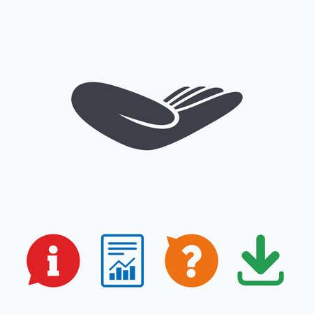 endowment: Donation hand sign icon. Charity or endowment symbol. Human helping hand palm. Information think bubble, question mark, download and report. Illustration