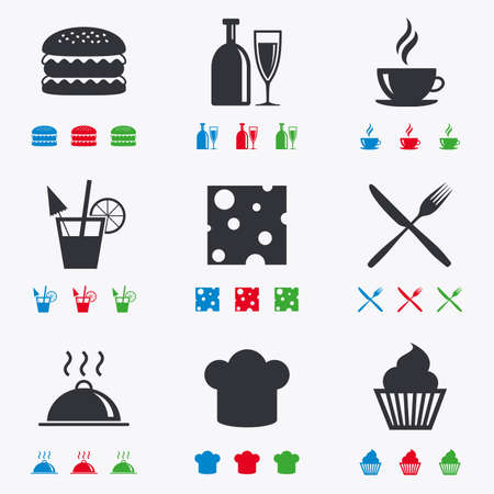 Food, drink icons. Coffee and hamburger signs. Cocktail, cheese and cupcake symbols. Flat black, red, blue and green icons. Illustration