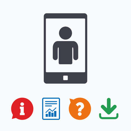 video call: Video call sign icon. Smartphone symbol. Information think bubble, question mark, download and report. Illustration