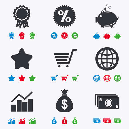 star award: Online shopping, e-commerce and business icons. Piggy bank, award and star signs. Cash money, discount and statistics symbols. Flat black, red, blue and green icons.