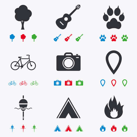 clutches: Tourism, camping icons. Fishing, fire and bike signs. Guitar music, photo camera and paw with clutches. Flat black, red, blue and green icons.
