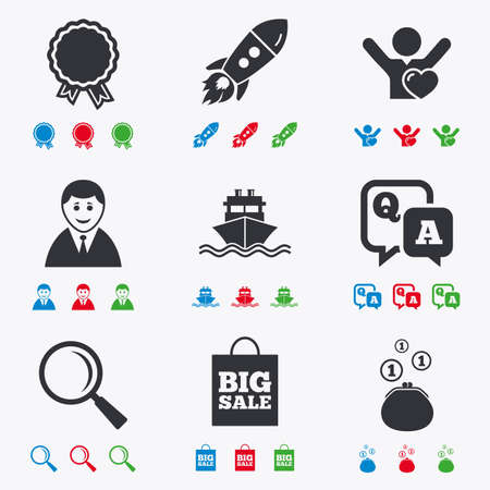 medal like: Online shopping, e-commerce and business icons. Startup, award and customers like signs. Cash money, shipment and sale symbols. Flat black, red, blue and green icons. Illustration