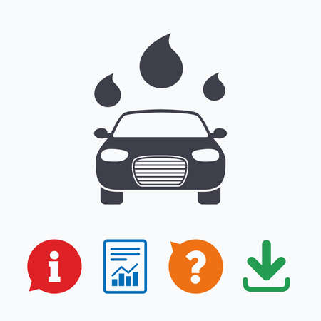 automated: Car wash icon. Automated teller carwash symbol. Water drops signs. Information think bubble, question mark, download and report.