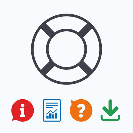 salvation: Lifebuoy sign icon. Life salvation symbol. Information think bubble, question mark, download and report.