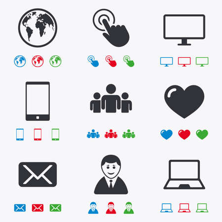 computer screen: Web, mobile devices icons. Share, mail and like signs. Laptop, phone and monitor symbols. Flat black, red, blue and green icons.