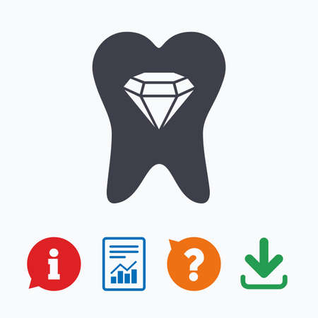 prestige: Tooth crystal icon. Tooth jewellery sign. Dental prestige symbol. Information think bubble, question mark, download and report.