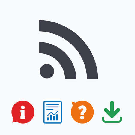 rss sign: RSS sign icon. RSS feed symbol. Information think bubble, question mark, download and report.