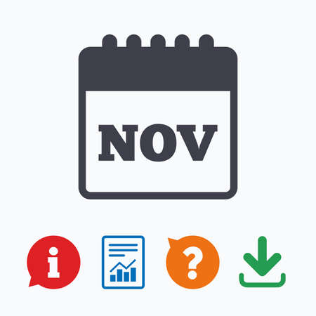 november calendar: Calendar sign icon. November month symbol. Information think bubble, question mark, download and report. Illustration