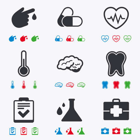 blue pills: Medicine, healthcare and diagnosis icons. Tooth, pills and doctor case signs. Neurology, blood test symbols. Flat black, red, blue and green icons. Illustration