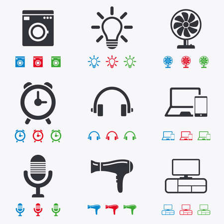 black appliances: Home appliances, device icons. Ventilator sign. Hairdryer, washing machine and lamp symbols. Flat black, red, blue and green icons.