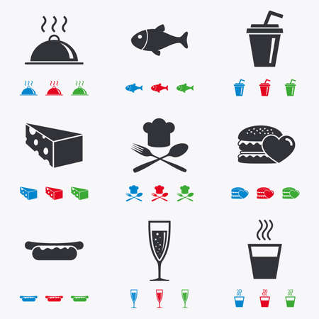 hot drinks: Food, drink icons. Alcohol, fish and burger signs. Hot dog, cheese and restaurant symbols. Flat black, red, blue and green icons. Illustration