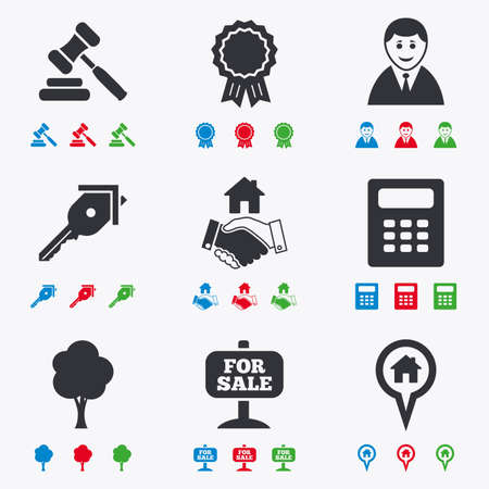 black handshake: Real estate, auction icons. Handshake, for sale and calculator signs. Key, tree and award medal symbols. Flat black, red, blue and green icons.