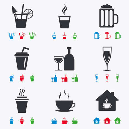 take away: Tea, coffee and beer icons. Beer, wine and cocktail signs. Take away drinks. Flat black, red, blue and green icons.