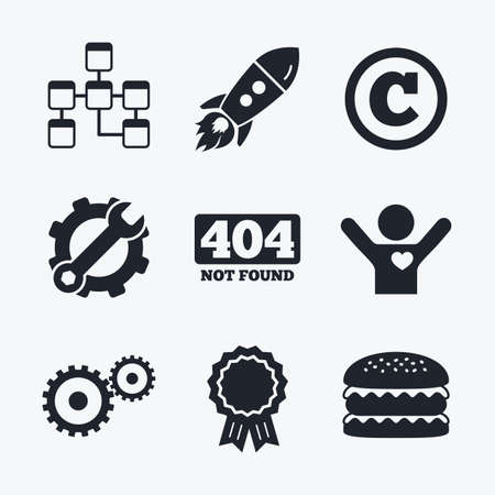 copyrights: Award achievement, spanner and cog, startup rocket and burger. Website database icon. Copyrights and gear signs. 404 page not found symbol. Under construction. Flat icons.