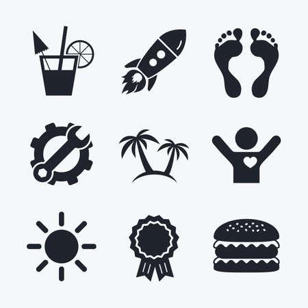 llave de sol: logro Premio, la llave y la rueda dentada, cohete de inicio y hamburguesa. Beach holidays iconos. Cocktail, huellas humanas y palmeras signos. símbolo del sol de verano. iconos planos.