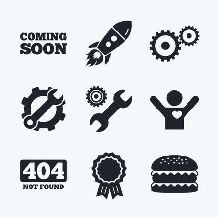 not found: Award achievement, spanner and cog, startup rocket and burger. Coming soon icon. Repair service tool and gear symbols. Wrench sign. 404 Not found. Flat icons.