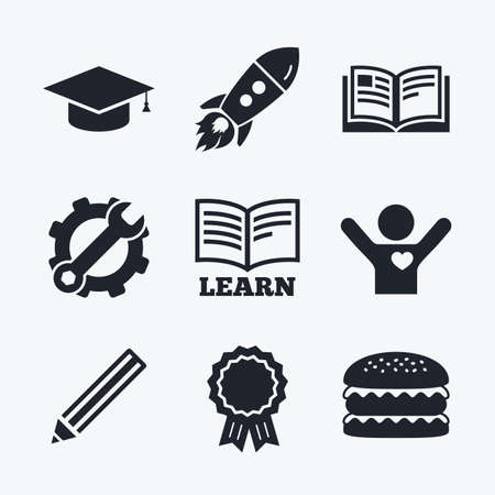 higher education: Award achievement, spanner and cog, startup rocket and burger. Pencil and open book icons. Graduation cap symbol. Higher education learn signs. Flat icons.