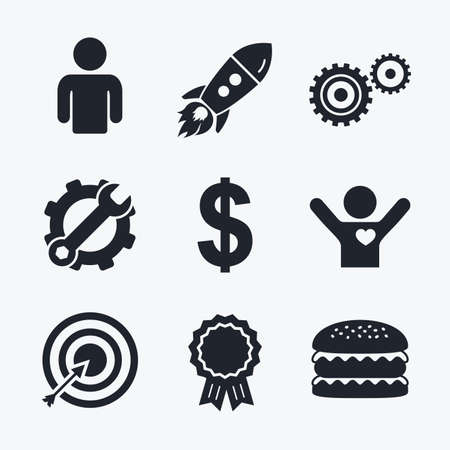 symbol icon: Award achievement, spanner and cog, startup rocket and burger. Business icons. Human silhouette and aim targer with arrow signs. Dollar currency and gear symbols. Flat icons.
