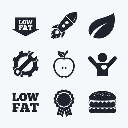 low prizes: Award achievement, spanner and cog, startup rocket and burger. Low fat arrow icons. Diets and vegetarian food signs. Apple with leaf symbol. Flat icons. Illustration