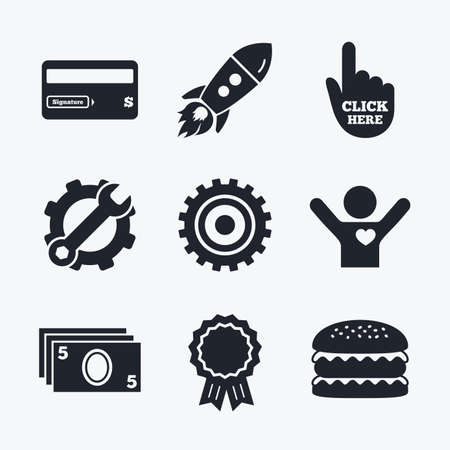 bank withdrawal: Award achievement, spanner and cog, startup rocket and burger. ATM cash machine withdrawal icons. Insert bank card, click here and check PIN, processing and get cash symbols. Flat icons. Illustration