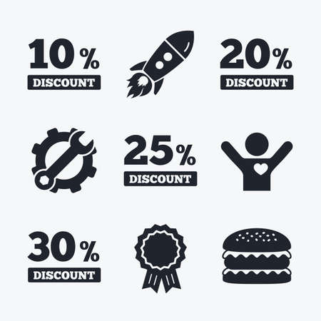 20 to 25: Award achievement, spanner and cog, startup rocket and burger. Sale discount icons. Special offer price signs. 10, 20, 25 and 30 percent off reduction symbols. Flat icons.