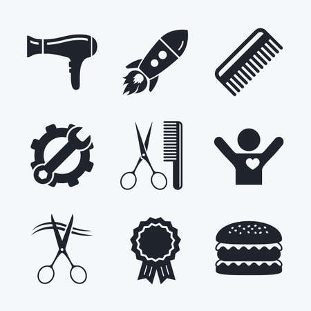 blow drying: Award achievement, spanner and cog, startup rocket and burger. Hairdresser icons. Scissors cut hair symbol. Comb hair with hairdryer sign. Flat icons.