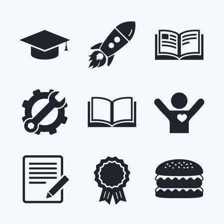higher: Award achievement, spanner and cog, startup rocket and burger. Pencil with document and open book icons. Graduation cap symbol. Higher education learn signs. Flat icons.