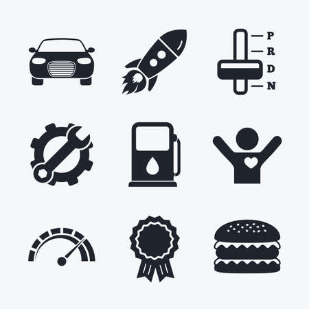 automatic transmission: Award achievement, spanner and cog, startup rocket and burger. Transport icons. Car tachometer and automatic transmission symbols. Petrol or Gas station sign. Flat icons.