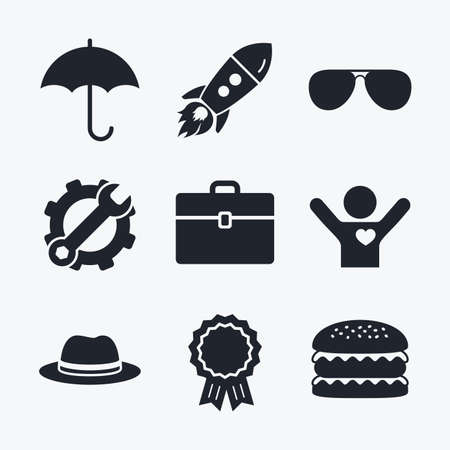 glasses icon: Award achievement, spanner and cog, startup rocket and burger. Clothing accessories icons. Umbrella and sunglasses signs. Headdress hat with business case symbols. Flat icons.