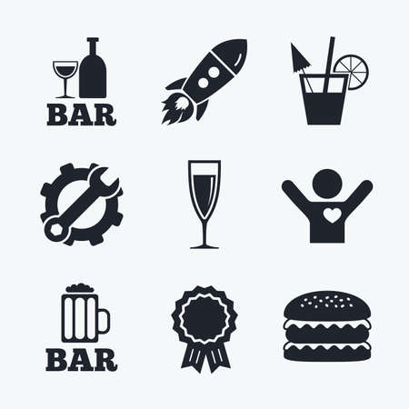 champagne orange: Award achievement, spanner and cog, startup rocket and burger. Bar or Pub icons. Glass of beer and champagne signs. Alcohol drinks and cocktail symbols. Flat icons.