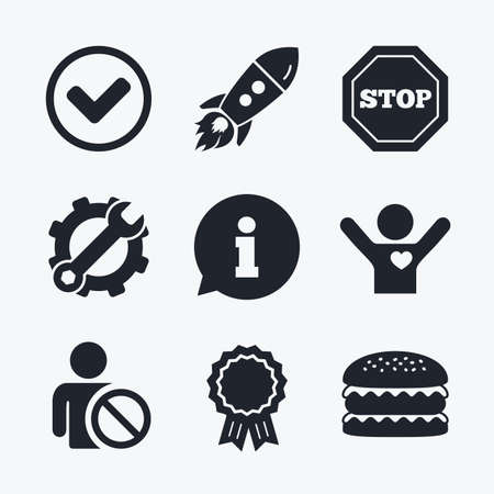 blacklist: Award achievement, spanner and cog, startup rocket and burger. Information icons. Stop prohibition and user blacklist signs. Approved check mark symbol. Flat icons. Illustration