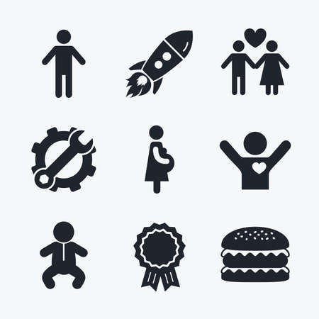 birth sign: Award achievement, spanner and cog, startup rocket and burger. Family lifetime icons. Couple love, pregnancy and birth of a child symbols. Human male person sign. Flat icons. Illustration