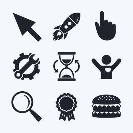 position d amour: Award achievement, spanner and cog, startup rocket and burger. Mouse cursor and hand pointer icons. Hourglass and magnifier glass navigation sign symbols. Flat icons.