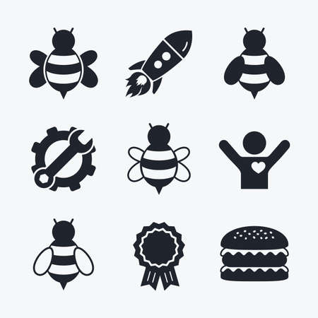 sting: Award achievement, spanner and cog, startup rocket and burger. Honey bees icons. Bumblebees symbols. Flying insects with sting signs. Flat icons.