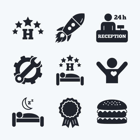 Award achievement, spanner and cog, startup rocket and burger. Five stars hotel icons. Travel rest place symbols. Human sleep in bed sign. Hotel 24 hours registration or reception. Flat icons.